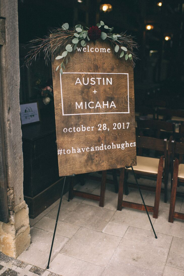 Modern Wood Welcome Sign with Eucalyptus Garland