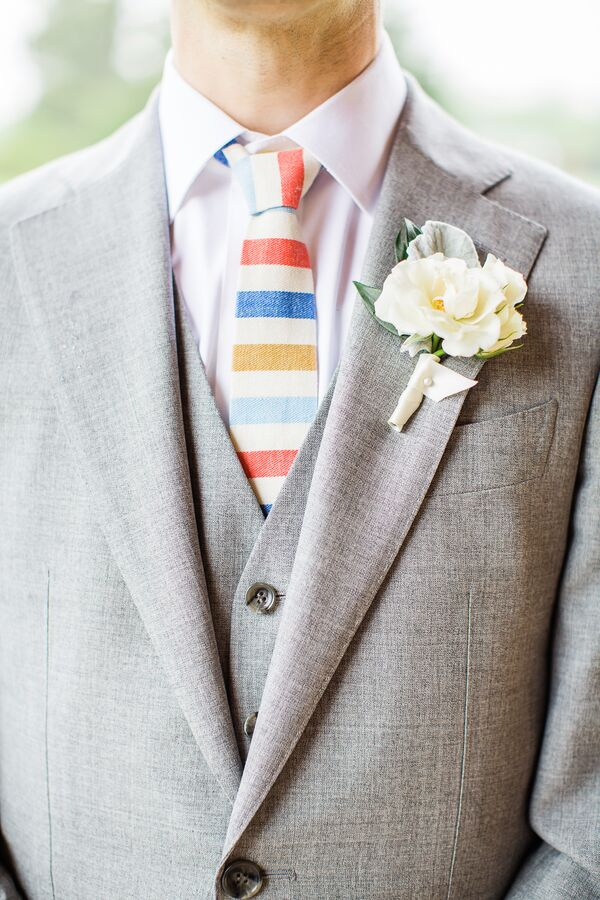 White Lisianthus Groom's Boutonniere