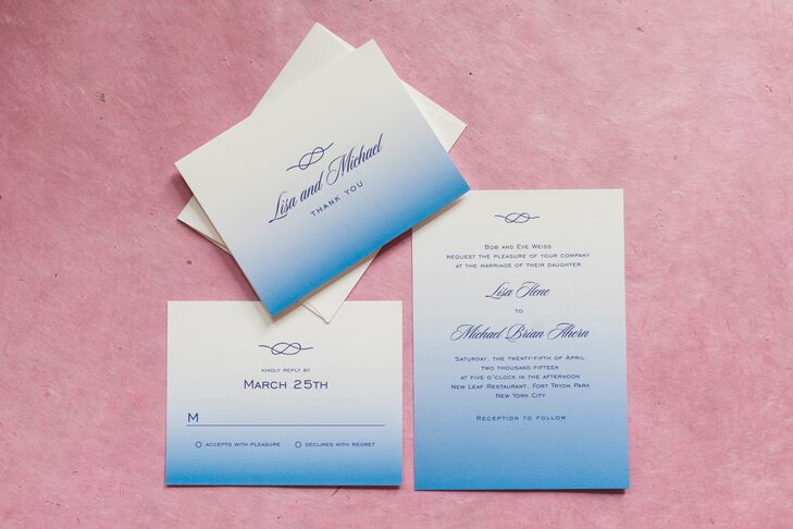 "The couple's wedding invitations were designed in ombre shades of blue, and included a traditional sailor's knot at the top. ""It was a nod to Michael's love of sailing as well as us officially tying the knot,"" Lisa says."