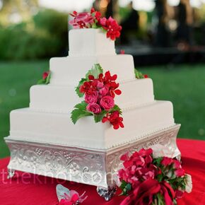 Red wedding cakes square white cake junglespirit Image collections