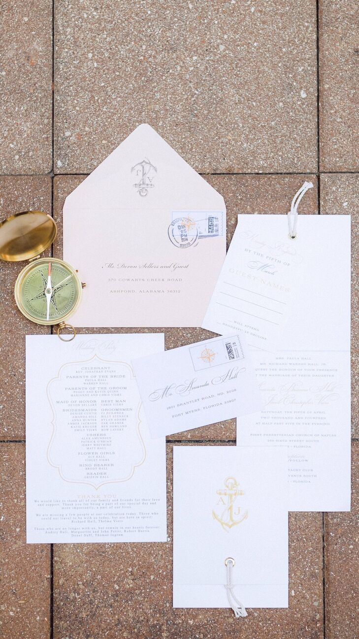 The invitation suite featured nautical elements like illustrations of compasses and anchors.