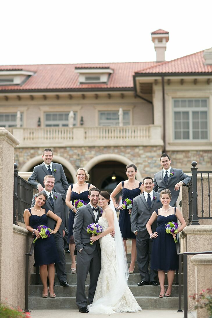 Navy Blue And Gray Wedding Party Attire