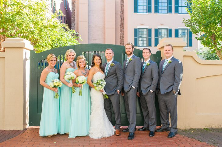 seafoam green and charcoal gray wedding party