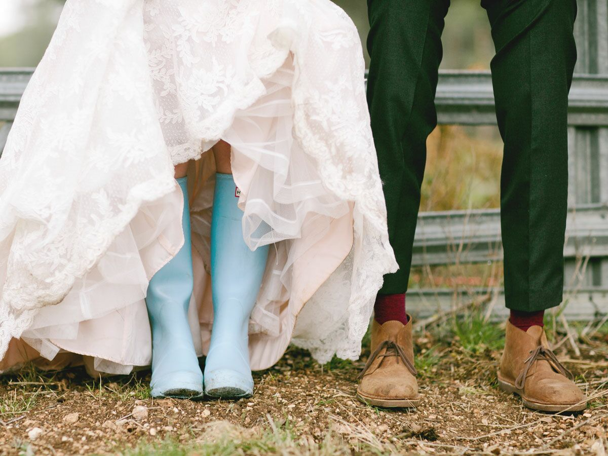 Rain boots on wedding day