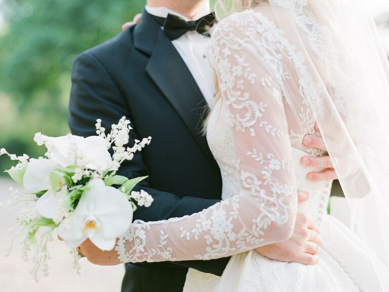 Floral lace long-sleeve wedding dress