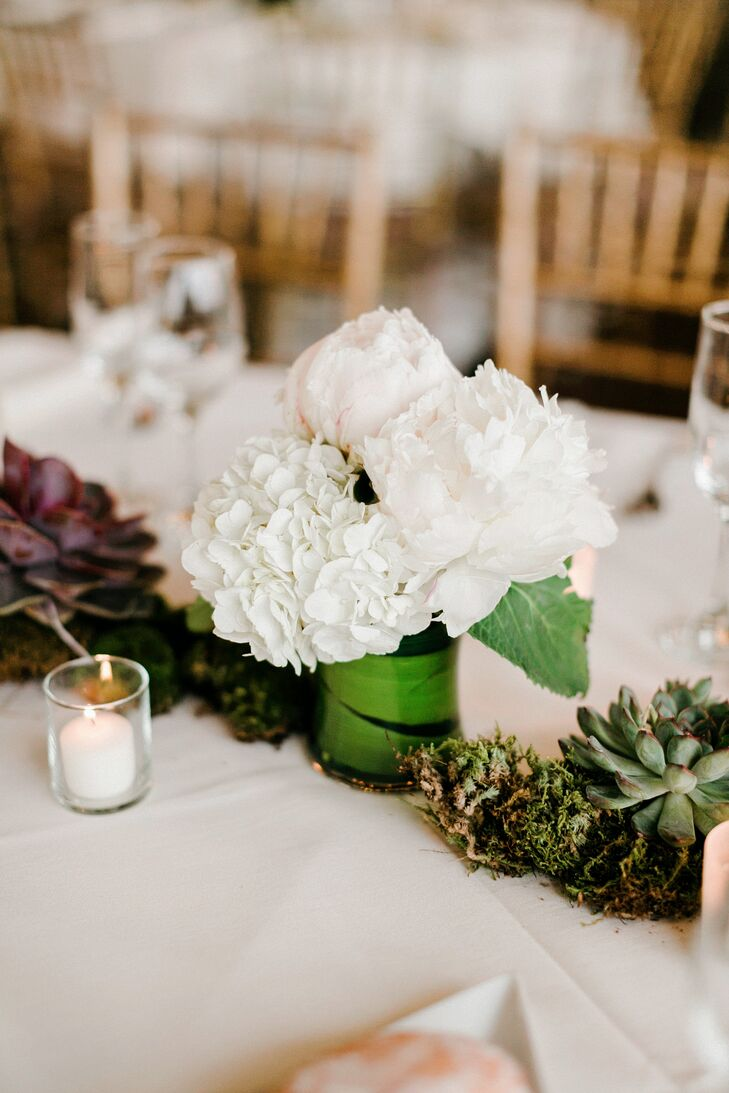 Natural white peony hydrangea centerpiece