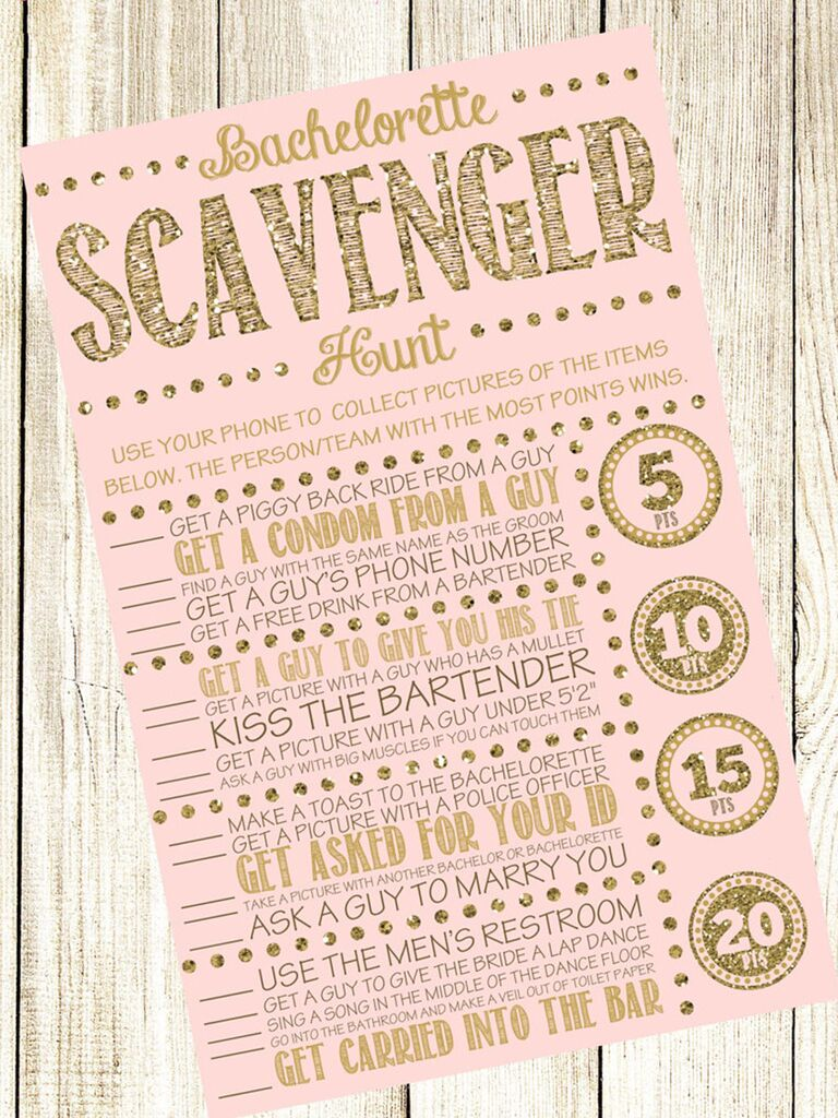 Printable Bachelorette Party Scavenger Hunt