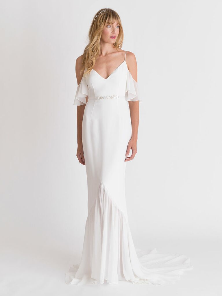 cold shoulder wedding dress
