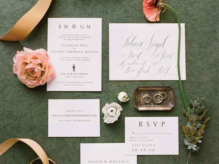 Classic invitation suite with calligraphed envelopes