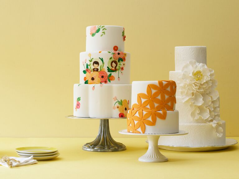 Orange illustrated, fondant and sugar flower wedding cakes