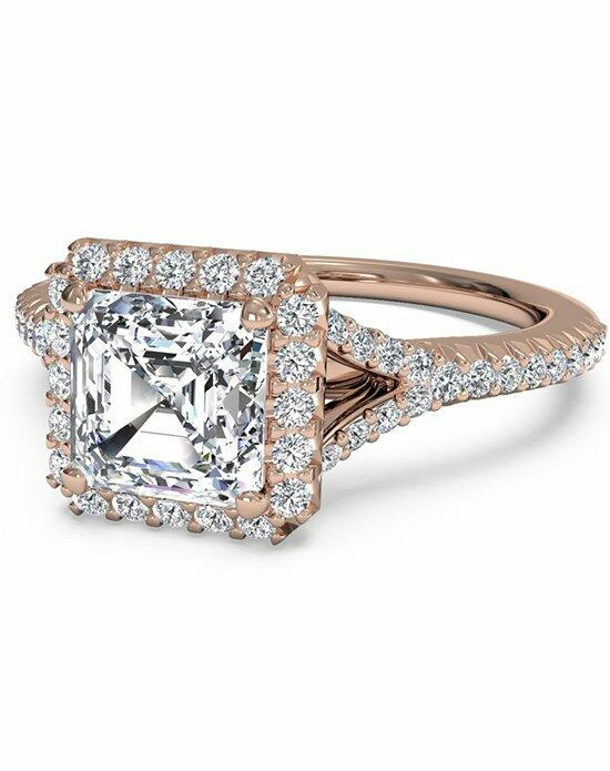 Ritani Asscher Cut French-Set Halo Diamond 'V' Band Engagement Ring in 18kt Rose Gold (0.23 CTW) Engagement Ring photo