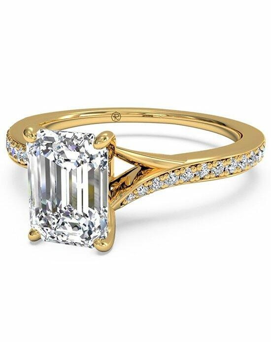 Ritani Emerald Cut Modern Bypass Micropave Diamond Band Engagement Ring in 18kt Yellow Gold (0.19 CTW) Engagement Ring photo