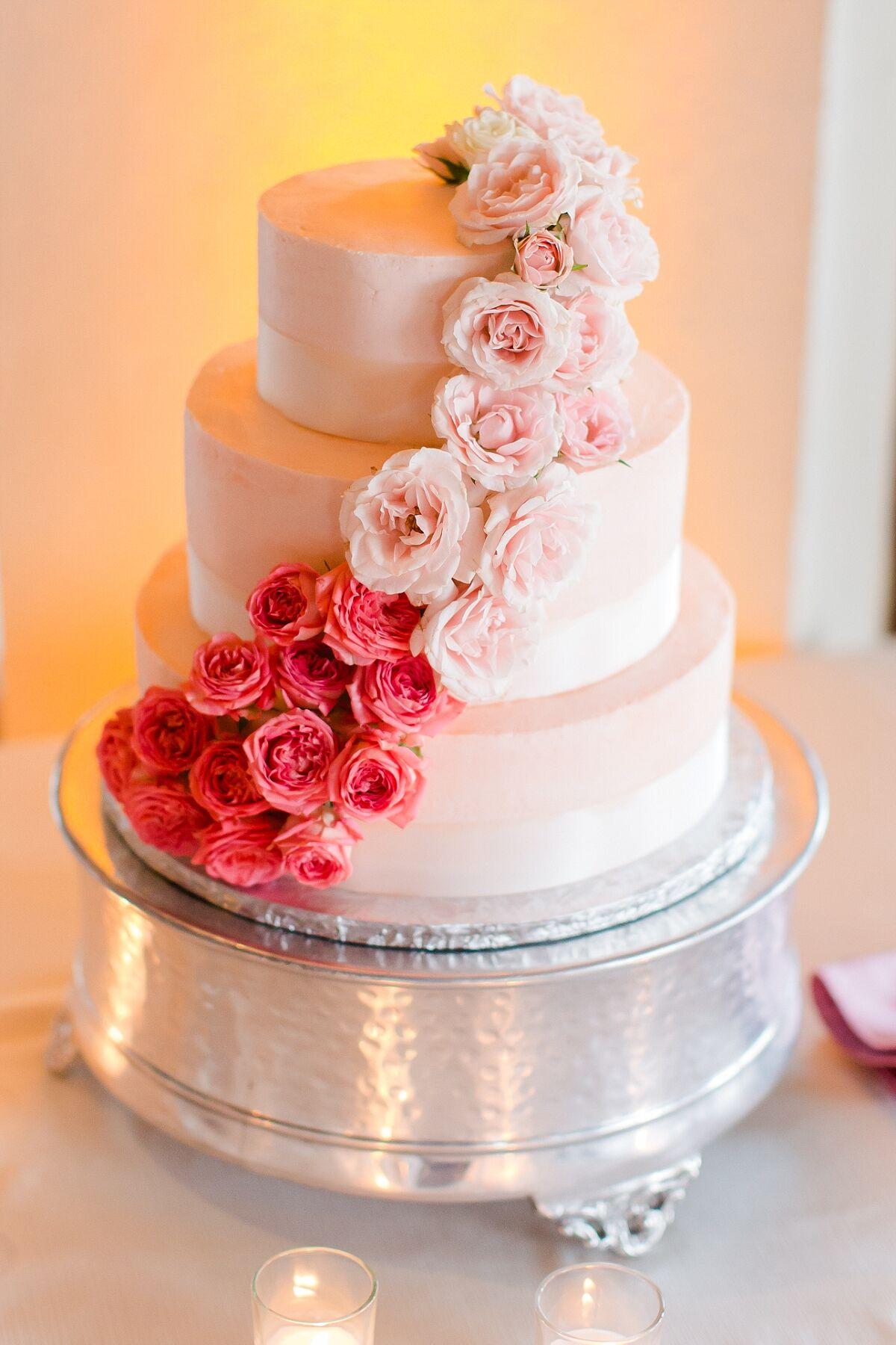 Ombre Cascading Flower Wedding Cake