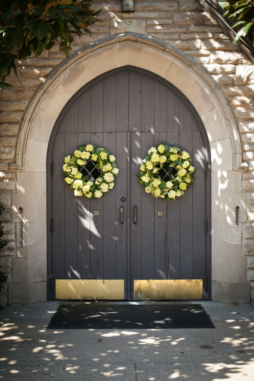 Wreaths On The Church Doors