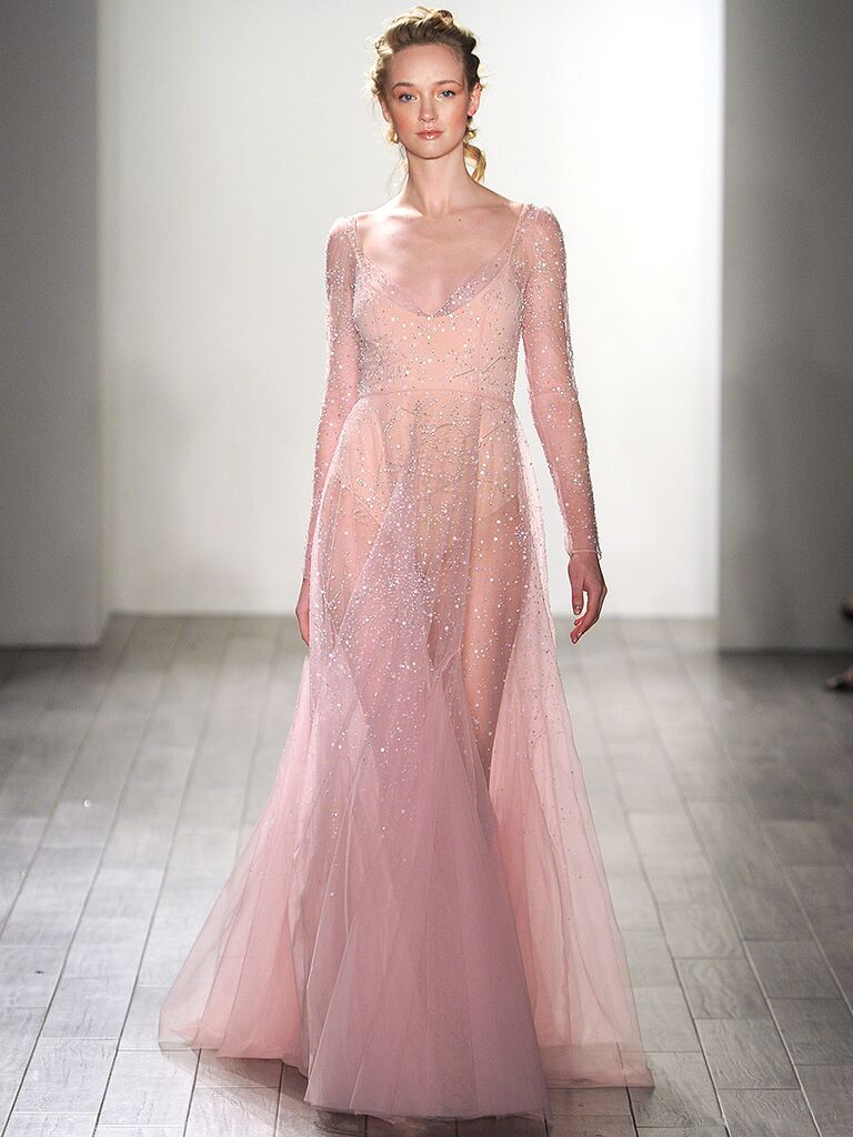 The prettiest blush and light pink wedding gowns sheer blush wedding gown by val stefani junglespirit Images