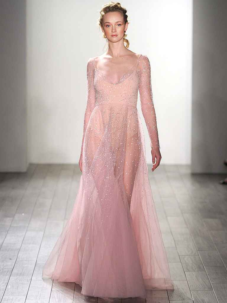 Sheer blush wedding gown by Val Stefani
