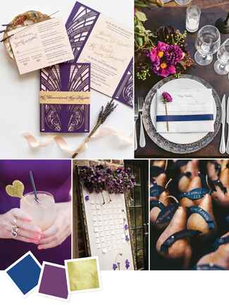 Moody color palette for an art-deco wedding theme