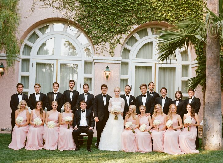 Black And Pink Wedding Party Attire