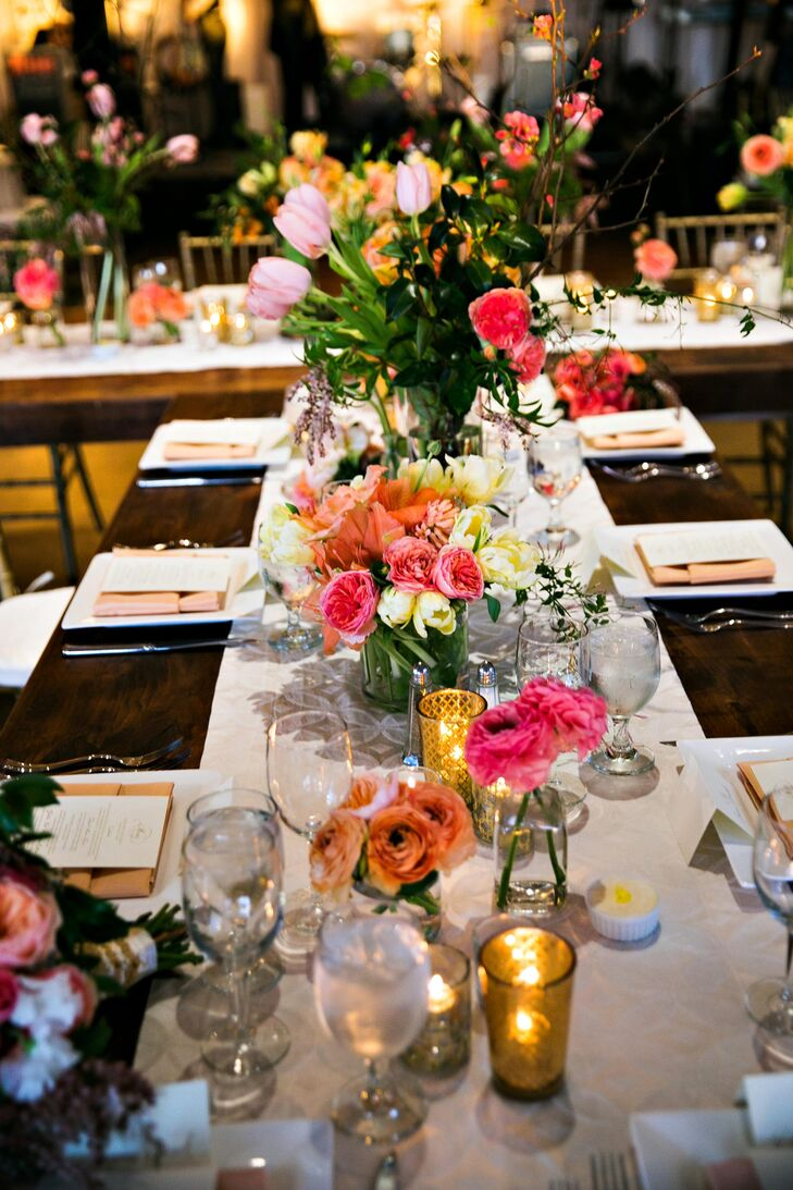 """I chose a color palette of soft pinks, corals, ivory and gold,"" says Suzanne. ""I absolutely connected with my florist at our first meeting and gave her creative freedom to carry out my vision."""