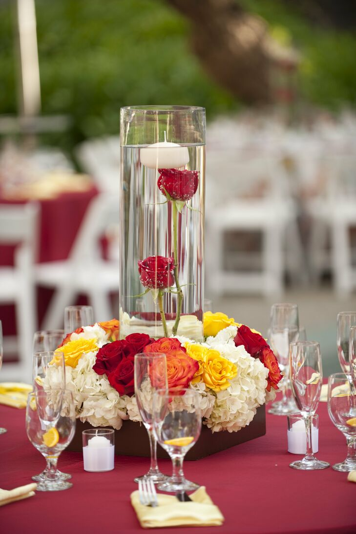 Red and yellow rose centerpiece
