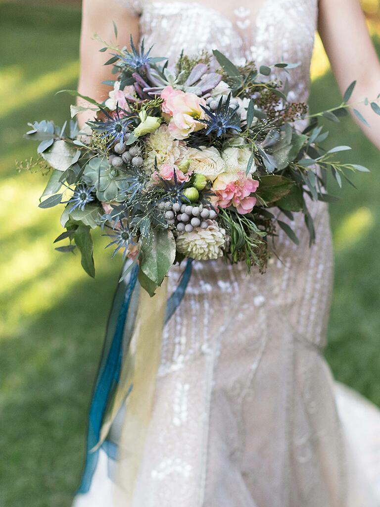 Unique wedding bouquet with natural texture