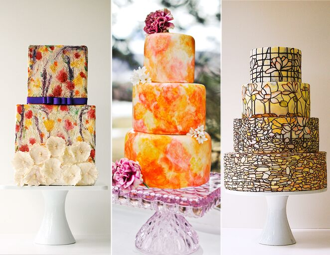 Painted and stained glass wedding cake trend