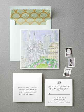 Regas Studio watercolor cityscape wedding invitation