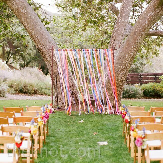 Outside Wedding Altars: Colorful Ceremony Arbor