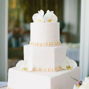 Three Tier White Floral Cake