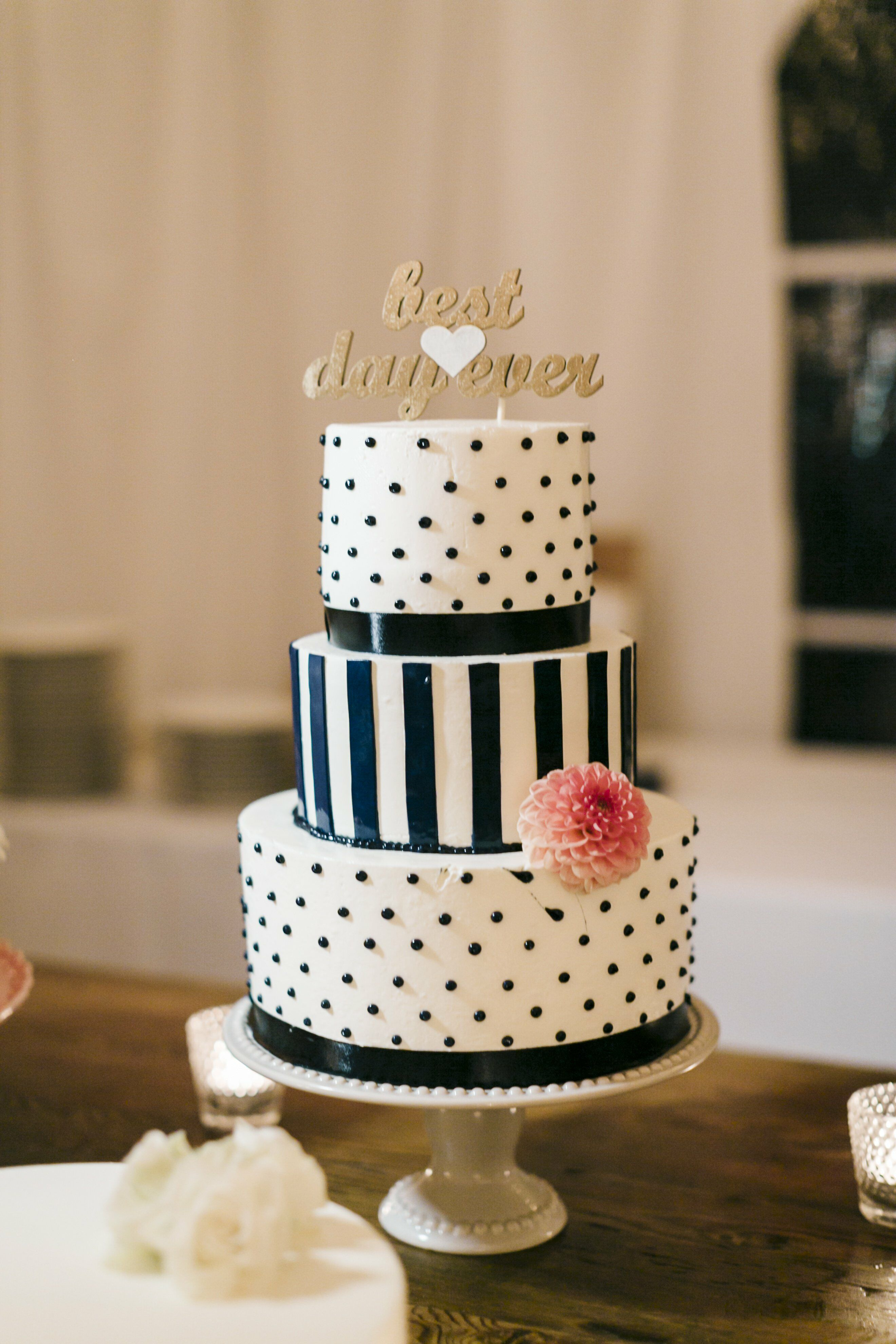 wedding cake with dots polka dot and stripe wedding cake 26869