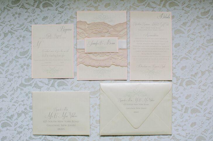 Blush And Ivory Wedding Invitations: Elegant Ivory And Blush Wedding Invitation Suite
