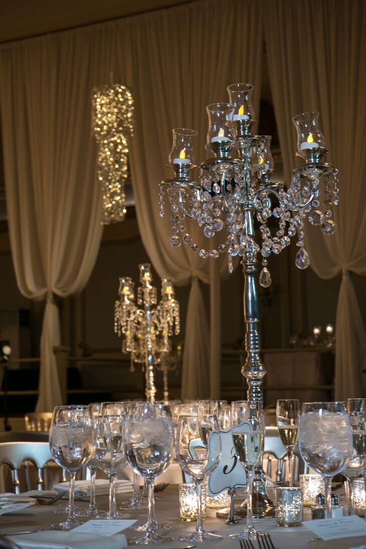Crystal candelabra centerpieces