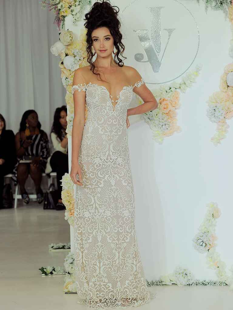 Julie Vino Fall 2018 off-the-shoulder wedding dress with illusion lace