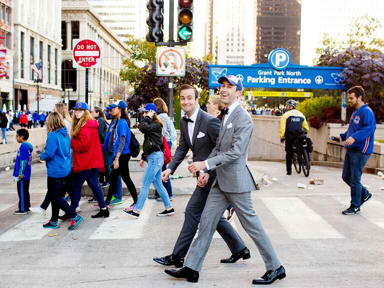 Couple walking in Cubs Parade in Chicago