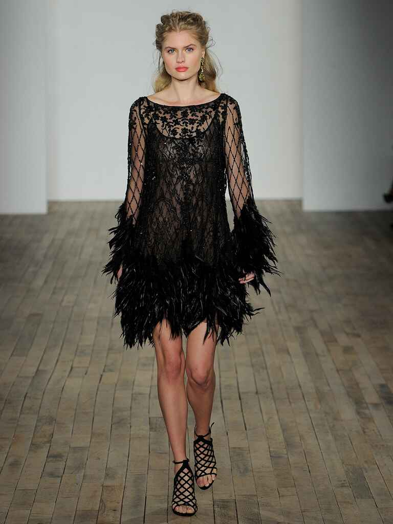 Short black wedding dress with feathers