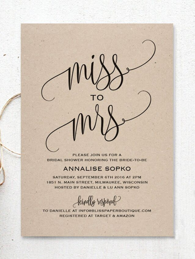 cute from miss to mrs printable diy bridal shower invitation template
