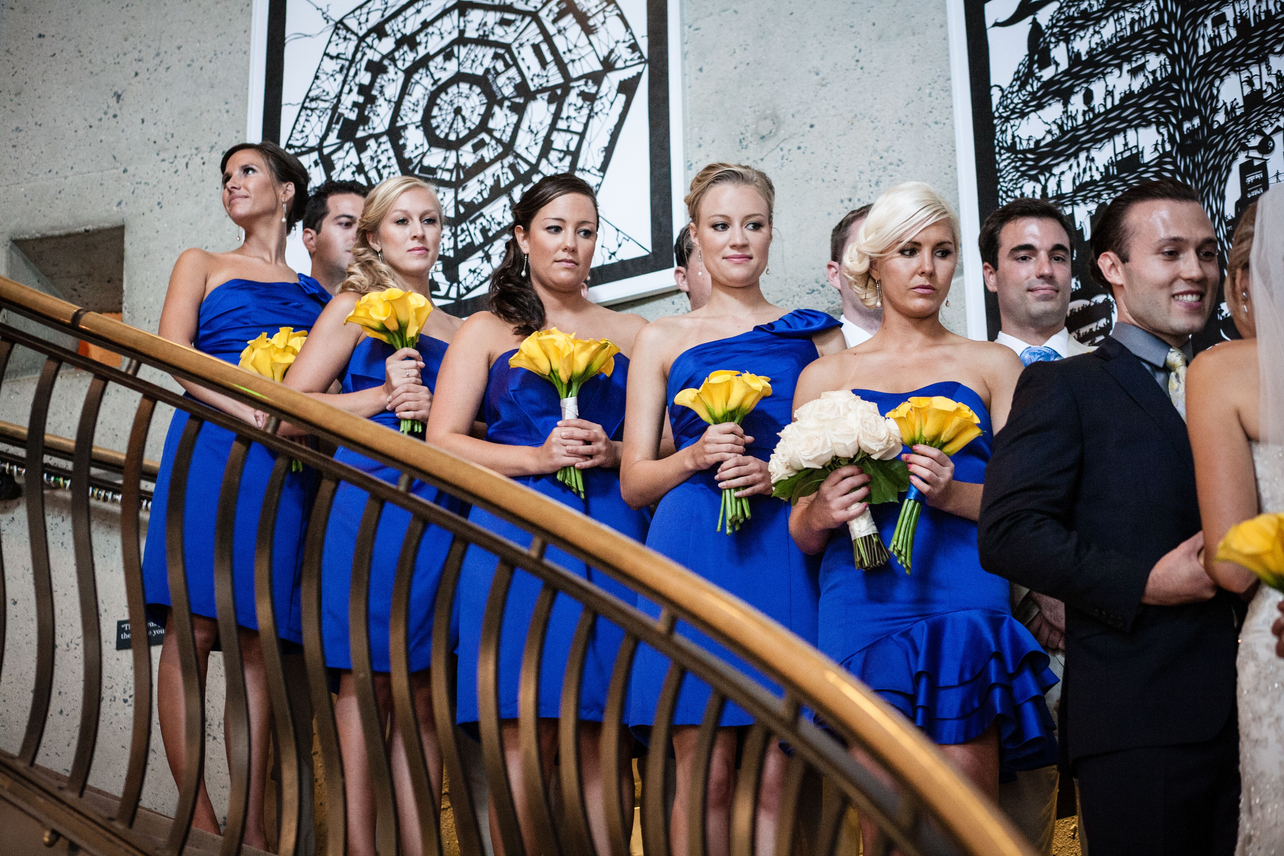 Alternative bridesmaid dresses bridesmaids in cobalt blue with yellow calla lily bouquets ombrellifo Image collections