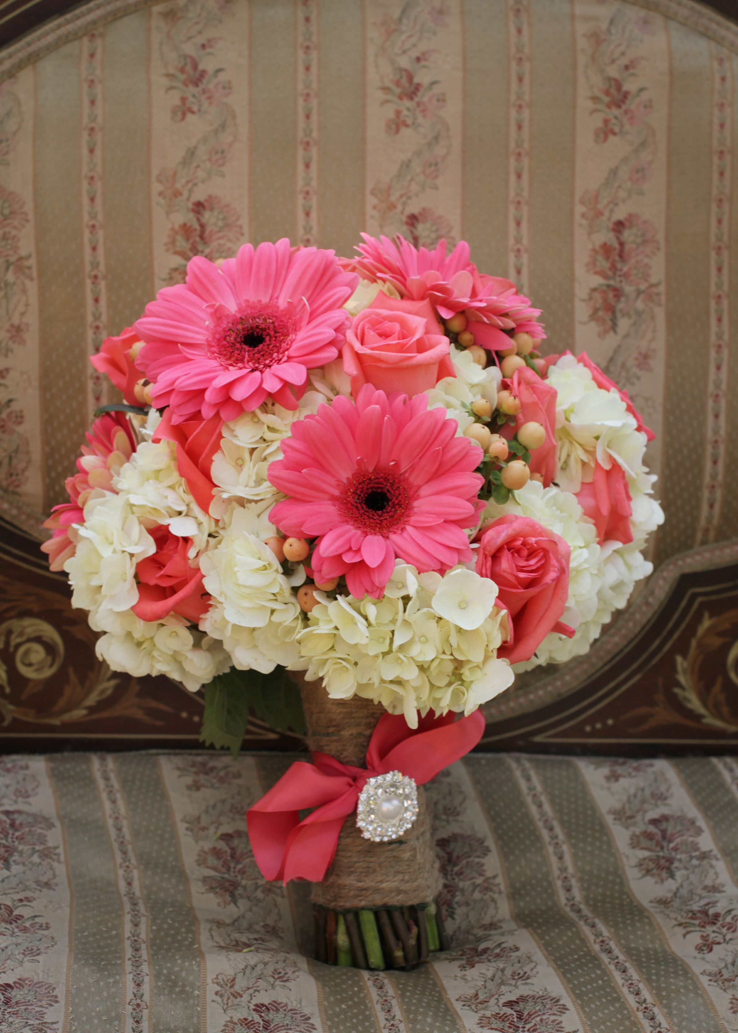 Pink Daisy And White Hydrangea Bridal Bouquet