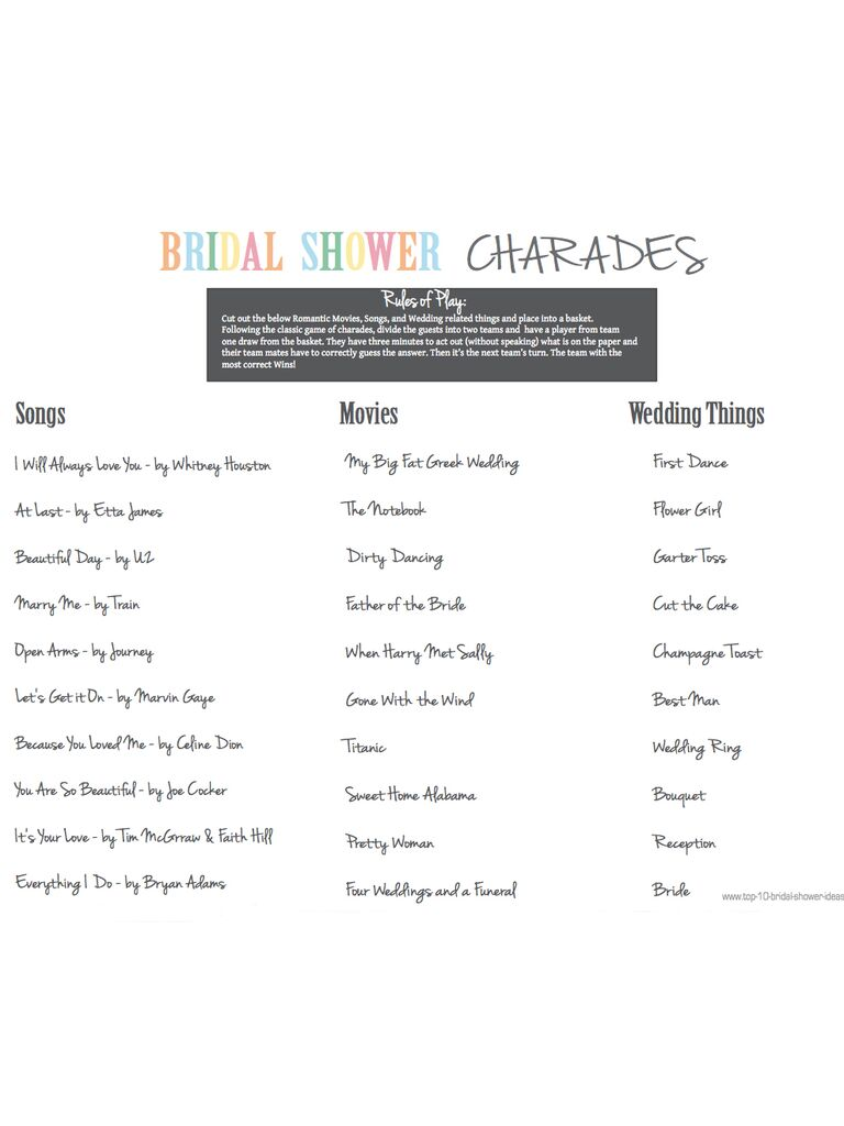free printable bridal shower charades game