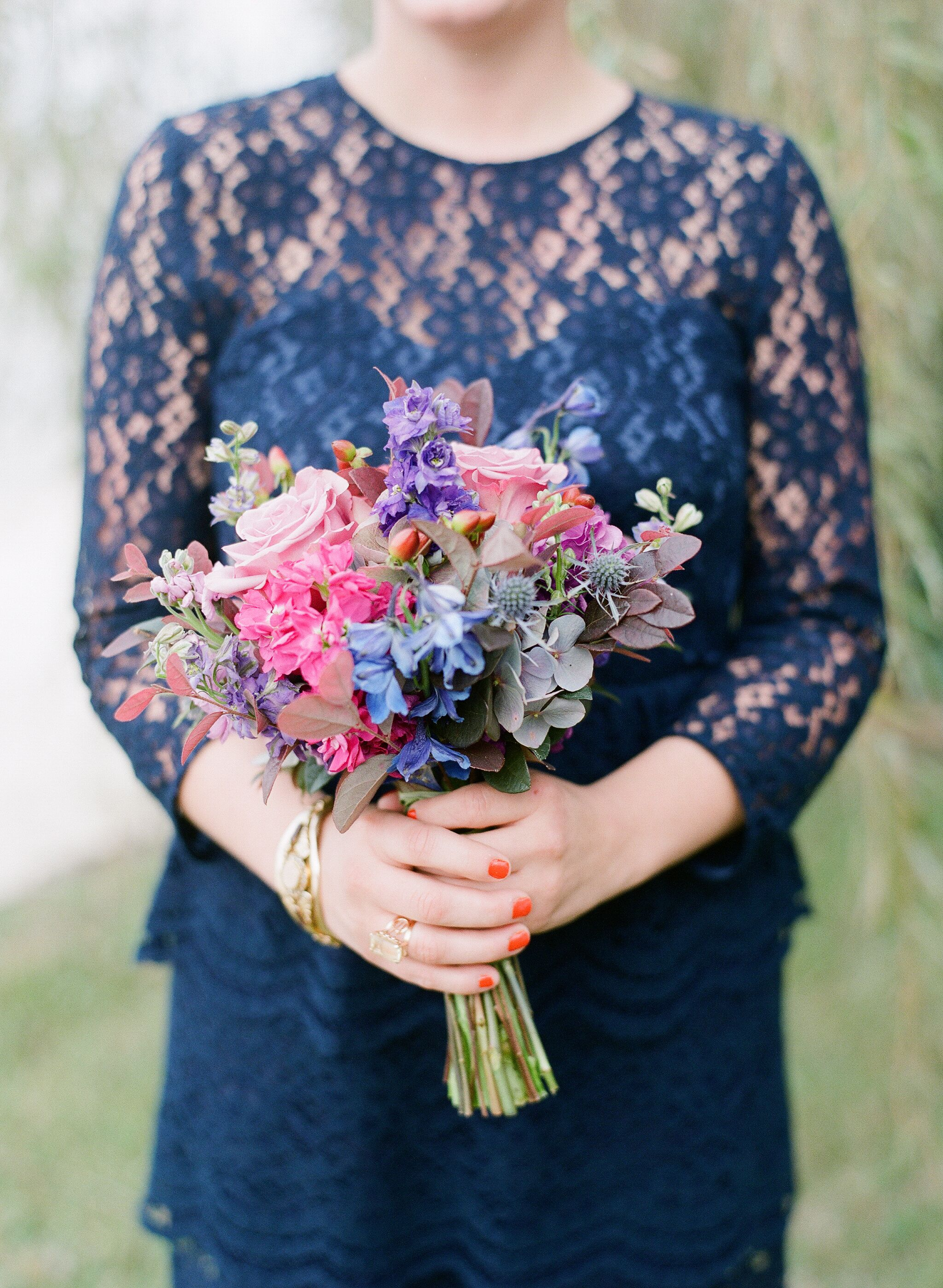 Pink Purple And Blue Garden Bridesmaid Bouquets