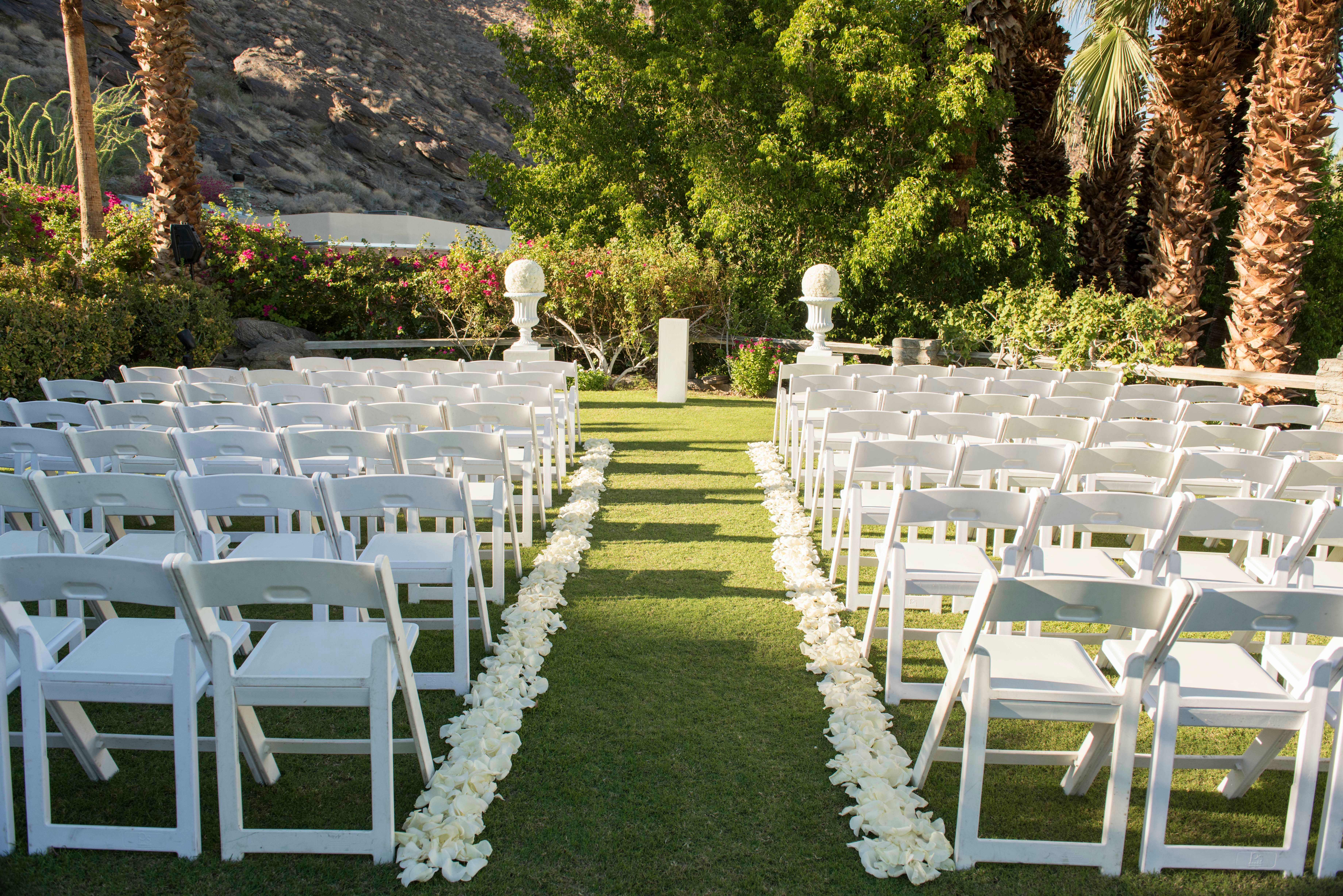 Ceremony Aisle Lined With White Petals