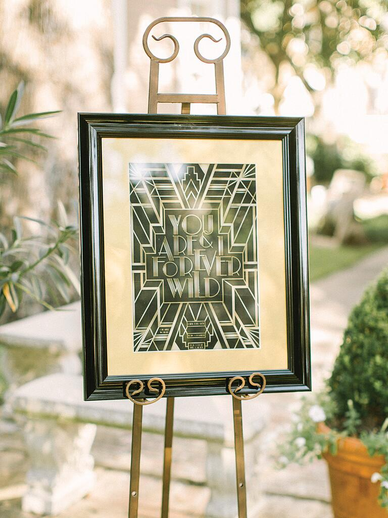 DIY wedding sign with an art-deco theme