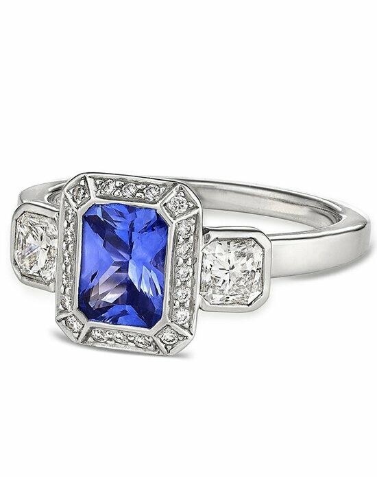 Ritani Three-Stone Emerald-Cut Sapphire and Diamond Engagement Ring in Platinum (0.60 CTW) Engagement Ring photo