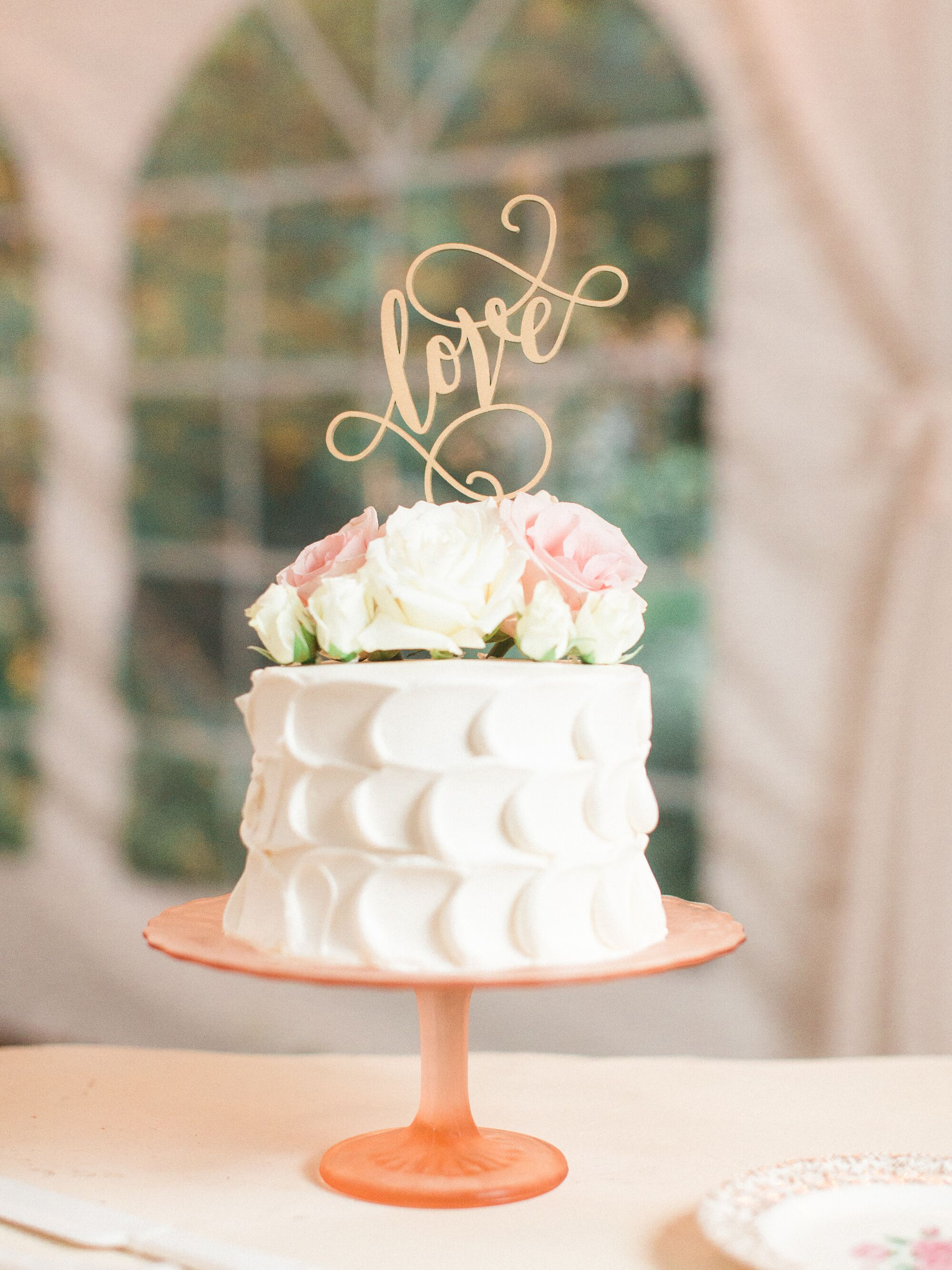 """Single Tier Wedding Cake With """"Love"""" Cake Topper"""