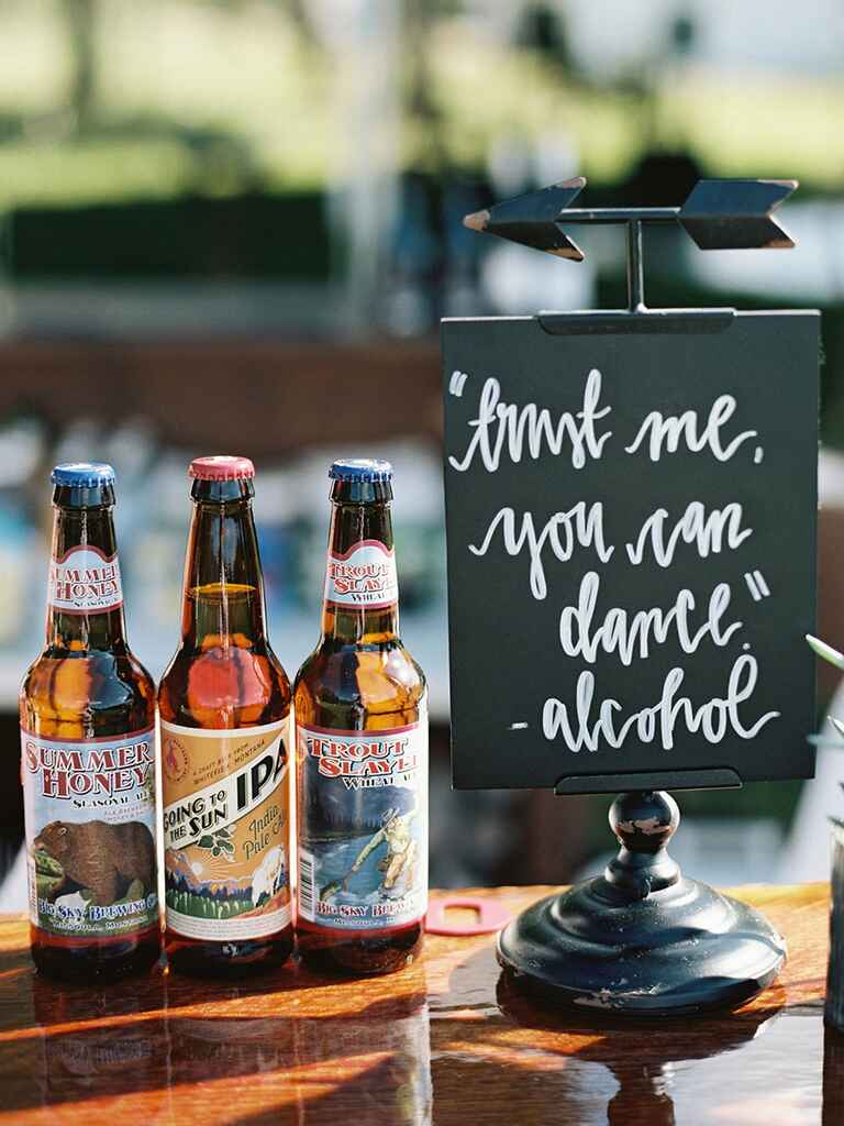 Alcohol quote wedding sign