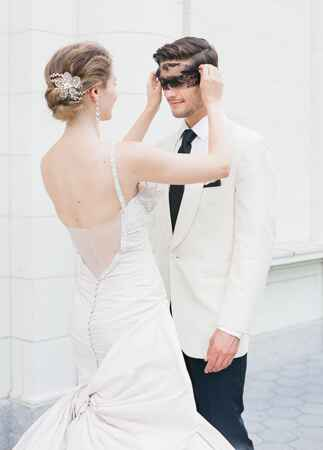 Ines Di Santo bow wedding dress | Corbin Gurkin | blog.theknot.com