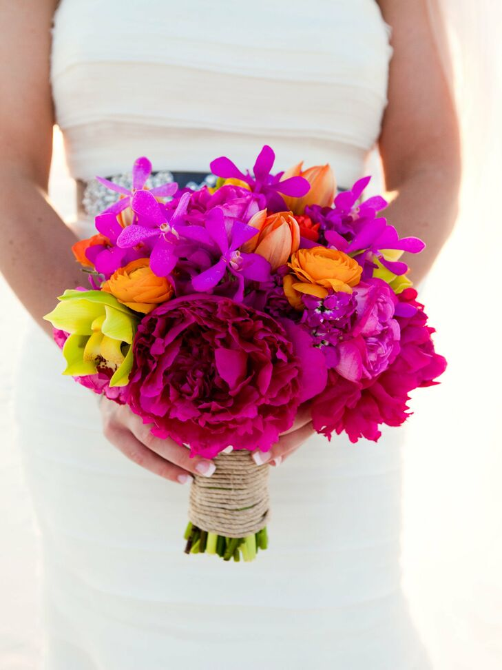 Bright pink bridal bouquet for Bright wedding bouquet