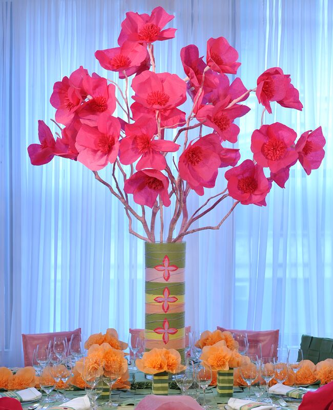 a tissue paper flower centerpiece