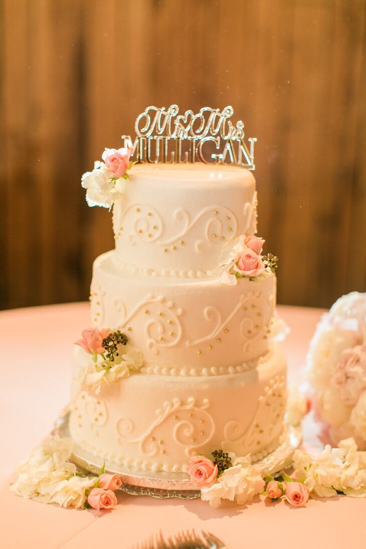 White wedding cake with piping and pink flowers mightylinksfo