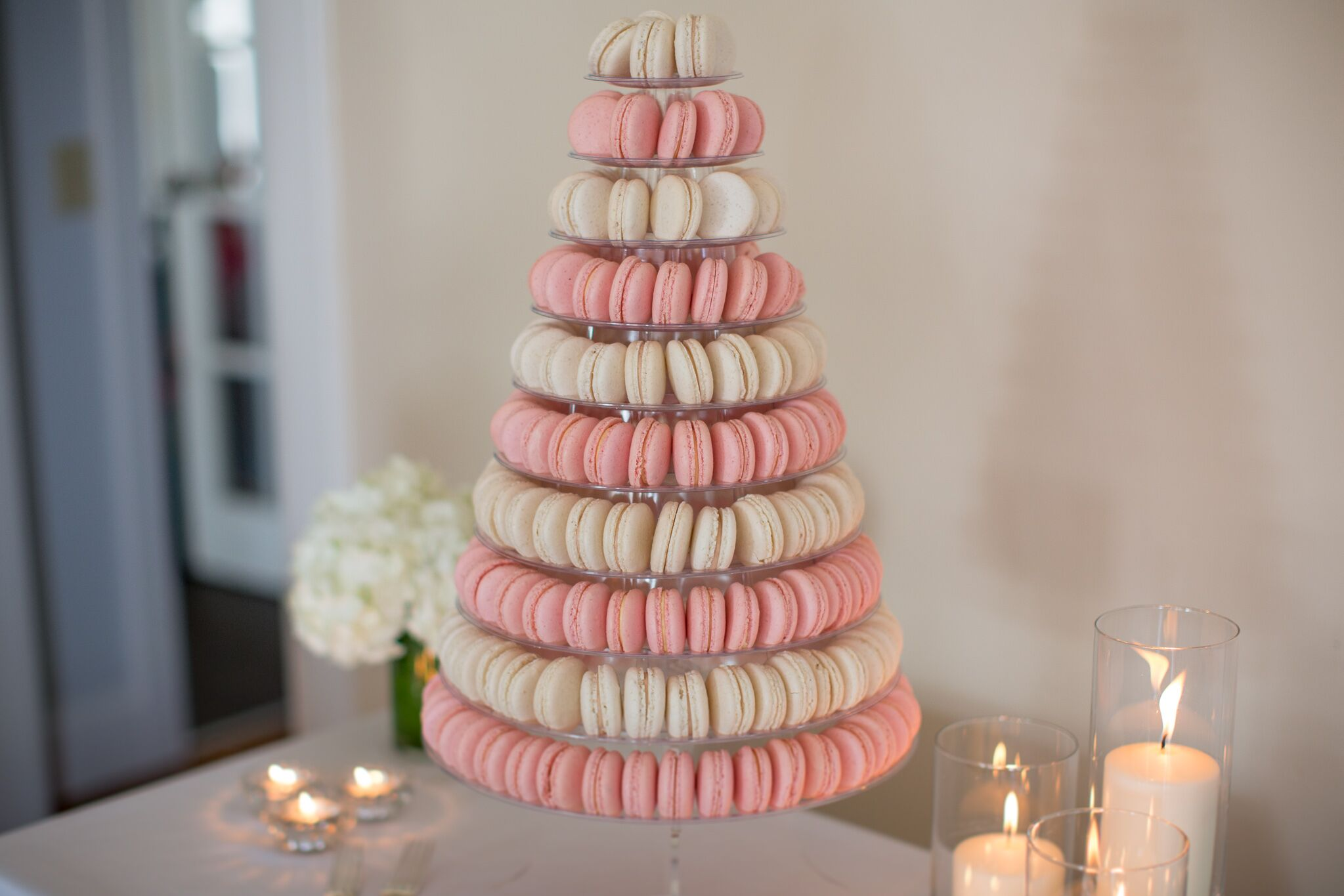 Pink And Ivory Macaron Tower